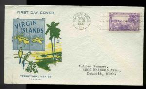 802 VIRGIN ISLANDS FDC CHARLOTTE AMALIE, VI PLANTY P68 PAVOIS TEXTURED ENVELOPE
