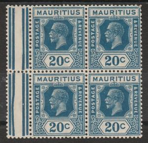 MAURITIUS 1921 KGV 20C MNH ** BLOCK DIE II WMK MULTI SCRIPT CA