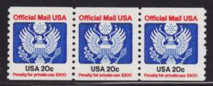 US Sc O135 MNH. 1983 20c Official coil, Plate 1, Strip of 3, VF