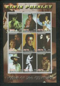 Turkmenistan Commemorative Souvenir Stamp Sheet - Elvis Presley