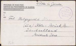 GB WW2 POW lettersheet to Germany ex 151 GERMAN PW WORKING CAMP.............3386
