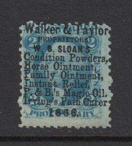 US, Sc R13c, used, Walker & Taylor 10-line 1866 handstamp