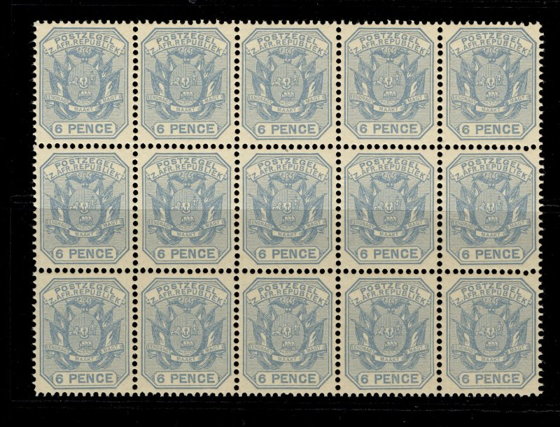 SOUTH AFRICA - Transvaal QV SG210 6d pale dull blue NH MINT. Cat £60 BLOCK OF 15