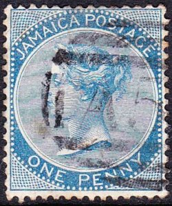 JAMAICA 1865 1d Deep Blue SG1c Used
