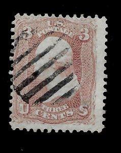 US 1861 Sc# 65 3 c Washington Used - Fancy Light Cancel - Sound Perfs