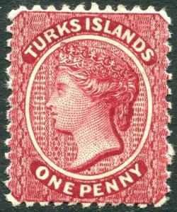 TURKS & CAICOS ISLANDS-1887-89 1d Crimson-Lake Perf 12 with reversed wmk  MM