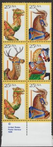 Scott 2390-93 MNH Block of 6, bottom right hand stamp has a tear