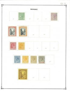 Bahamas Mint (22) & Used (4) Hinged on a Scott International Blank page