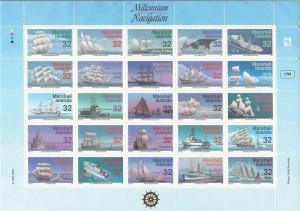 Marshall Islands 1996 Sailing Ships 25 Stamp Sheet NH Scott #605