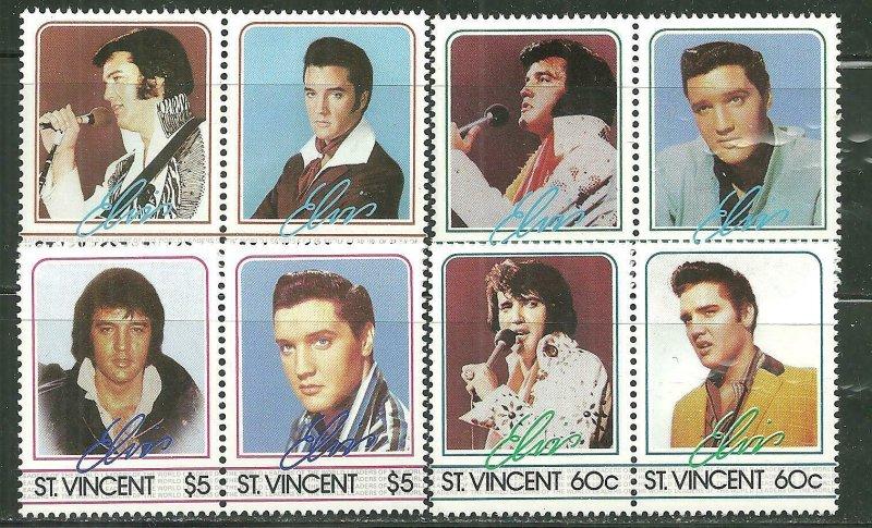 St. Vincent MNH 874-7 Pairs Elvis Presley 1985