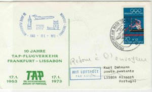Germany 1973 10 Years TAP Airlines Frankfurt-Lisbon Slogan Stamps Cover Ref26596