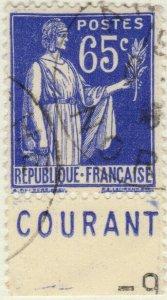 FRANCE - 1937 Pub CCP (COURANT) sur Yv.365b 65c Paix Obl. TB