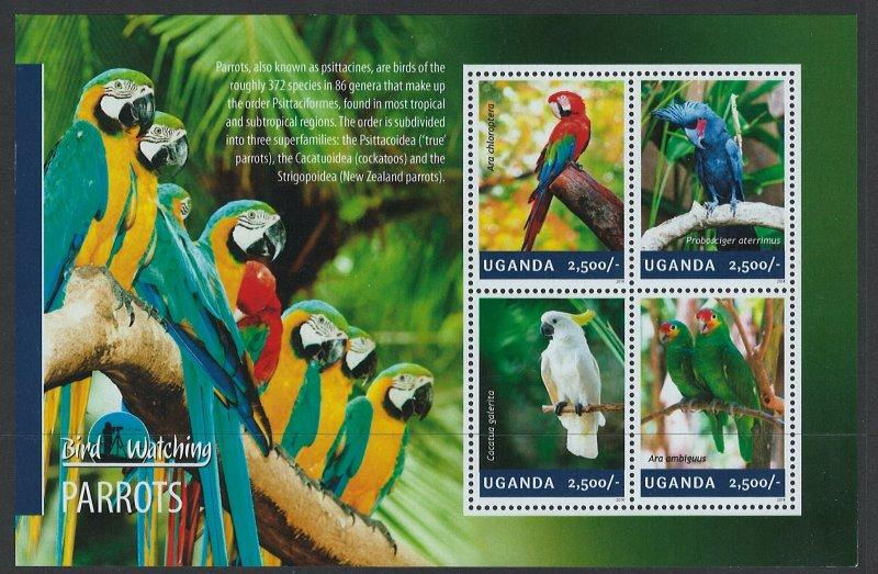 Uganda Scott 2114 MNH! Parrots! Sheet of 4!
