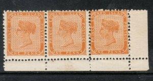Prince Edward Island #4 Mint Fine - Very Fine Never Hinged Margin Strip Of 3