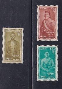 Nepal  #141-143  MNH  1962  Nepalese poets