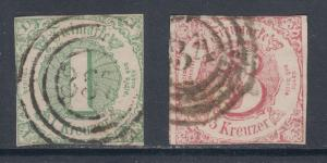 Thurn & Taxis Sc 47, 53 used 1859 1kr green & 1862 3kr rose Numerals, F-VF