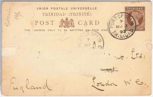 TRINIDAD -  POSTAL STATIONERY CARD: Higgings & Gage # 4 to ENGLAND 1893
