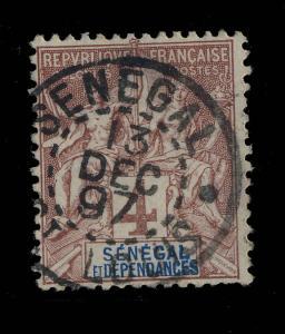SÉNÉGAL - 1897 - CACHET  SÉNÉGAL / St-LOUIS SUR N°10 4c LILAS-BRUN TYPE GROUPE