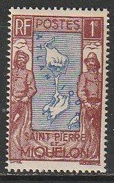 1932 St. Pierre et Miquelon - Sc 136 - MNH F - 1 single - Map & Fisherman
