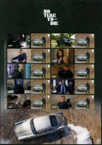 HERRICKSTAMP NEW ISSUES GREAT BRITAIN James Bond No Time to Die Smiler Sheet