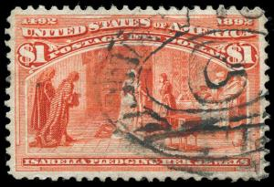 momen US Stamps #241 Used $1 VF/XF PSE Cert