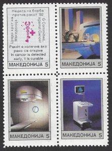 Macedonia #RA9a MNH  block of 4, Anti-cancer week, issued1992