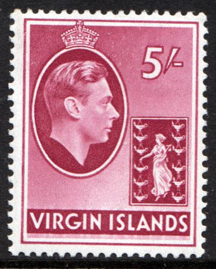 British Virgin Islands 1938 5 5/- Carmine SG119 Chalk Mint Lightly Hinged
