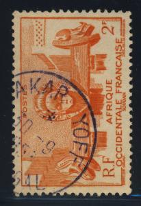 A.O.F. / SÉNÉGAL - 1953 - CAD DAKAR YOFF / SENEGAL SUR Yv. 33 2fr ORANGE