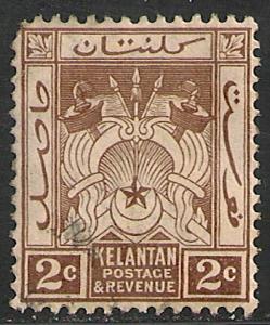 Malaya - Kelantan #16 FVF USED - 1921 2c Symbols Of Gov't