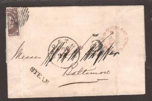 Newfoundland Sc 8a Vertical Bisect on 1860 cover, STEAM handstamp, Rare, Cert