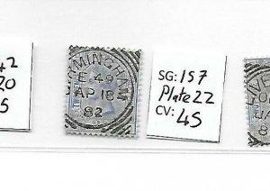 GB  QV    SG157   2½d Blue  plate 22 BIRMINGHAM CDS Used STAMP Cat £45 LOT QV15