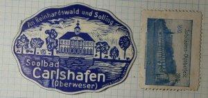 Carlshafen Germany Towm Ad German Tourism Poster Stamp