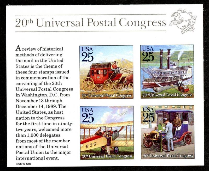 U.S. Scott 2438 1989 MNH UPU Congress Souvenir Sheet