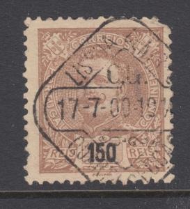 Portugal Sc 127 used 1895 150r light brown on straw King Carlos