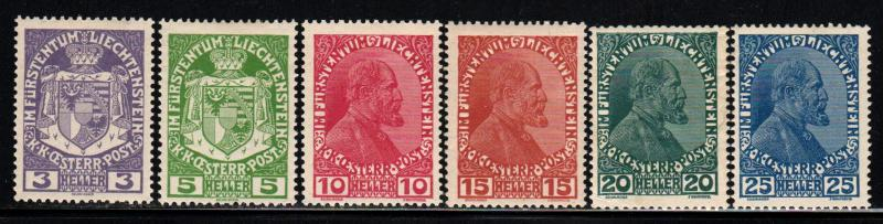 Liechtenstein # 4-9 ~ Cplt Set of 6 ~ Mint, HMR ~ cv 7.50
