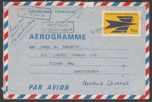 FRANCE 1976 1f40c aerogramme used to New Zealand returned to sender.........L416