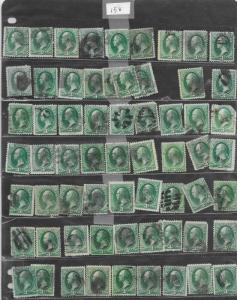158 Used, 3c. Washington, 63 stamps, scv: $63,  FREE INSURED SHIPPING,