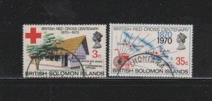 SOLOMON ISLANDS #210-211  1970  BRITISH RED CROSS CENTEBARY      F-VF  USED  a