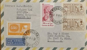 A) 1961, BRAZIL, FROM BRUSQUE - BRAZIL TO THE UNITED STATES, AIRMAIL, CENTENARY