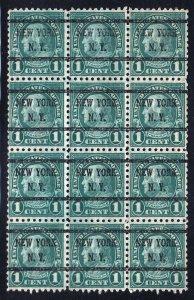1923 Sc 581 used precancel New York block of 12