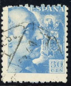 SPAIN #695 General Francisco Franco 30p blue 1940 used