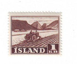 Iceland Sc 264 1950 1 kr Tractor stamp mint NH