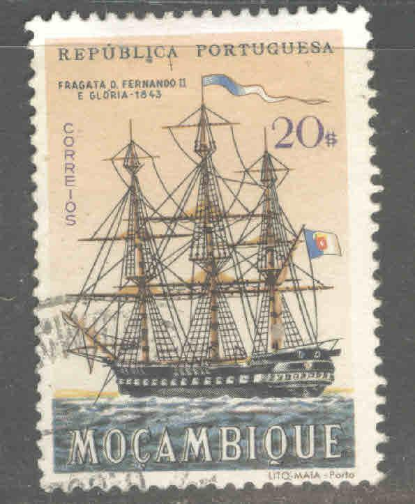 Mozambique Scott 453 Used Sailing ship stamp