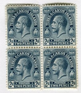 TURKS & CAICOS; 1925 early GV issue Mint hinged Block 2d.