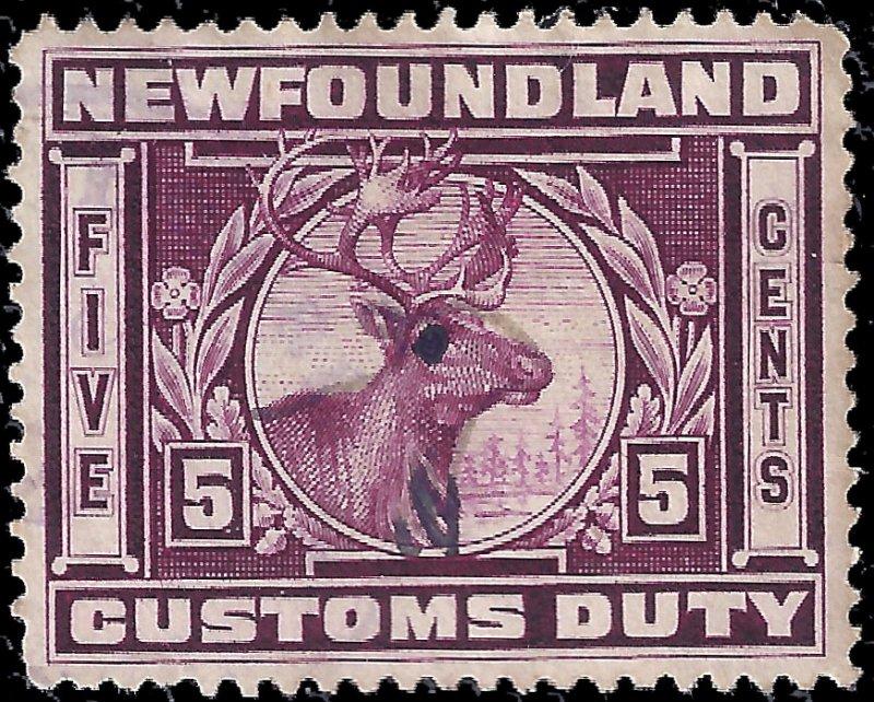 Newfoundland 1938 Sc NFC5 uvf Customs Duty stamp