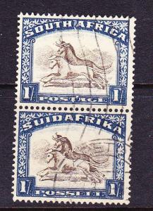 SOUTH AFRICA  1930-45 1/-  PICTORIAL BILINGLE PAIR  FU   SG 48