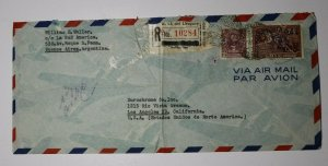 Uruguay Registered Airmail Cover To USA 1946 Label Overprint Ovpt C114 Used
