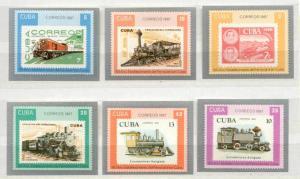 Cuba 2987-93 MNH VF imperf.Railway