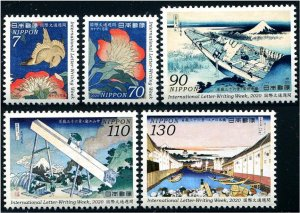 2020 Japan Int Letter Writing Week Full Sheets of 10 (5)  (Scott NA) MNH