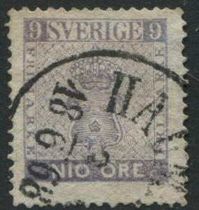 Sweden 1858 9 ore violet CDS used